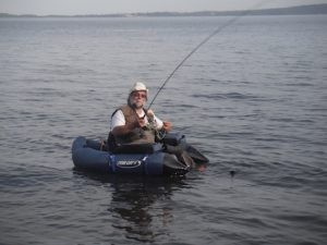A belly boat is the best solution for fishing this lake.